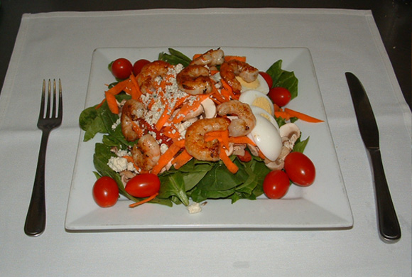 A Salad with Shrimp added.